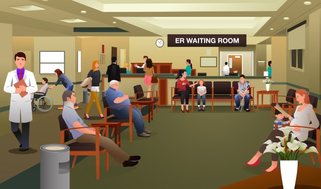 Emergency Room Waiting Cartoon Sick of High Em...