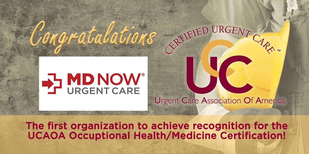 MD Now alcanza la primera medicina del trabajo de UCAOA/certificación de la medicina